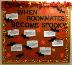 """Resident assistant bulletin board for October. Halloween theme: """"When Roommates Become Spooky."""" Tips on how to deal with roommate conflict."""