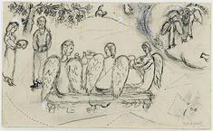 Abraham and three Angels, 1964, Marc Chagall    Size: 18.8x32.2 cm
