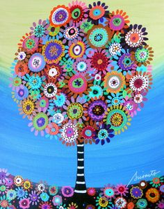 Mexican Folk Art Tree of Life Flower Blooms Prisarts Original Painting