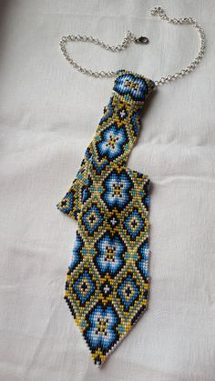 beaded blue tie for teen tie for boys Clothing by fairyseedbeads