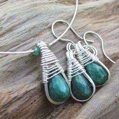Emerald Necklace Earrings Set, Liquid Silver, All Handmade Sterling   bohowirewrapped - Jewelry on ArtFire