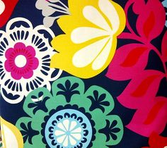 Yellow Hot  Pink Red Navy Green  Floral  Apparel Quilting Modern Cotton fabric by the yard.. $7.50, via Etsy.