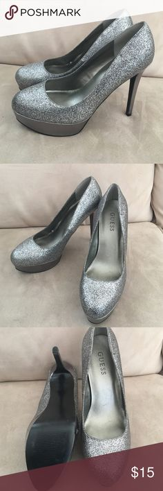 Sparkle Guess Stilettos high heels Super cute high heels with lots of glittery sparkle. Worn once and in great condition. Small scuff on the bottom of one shoe that is barely noticeable- great and comfortable for any party! Guess Shoes Heels
