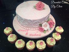 Girls birthday cake with matching cupcakes