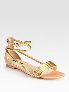 Rachel Zoe - Georgie Metallic Leather Ankle Strap Sandals