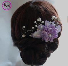 Bridal hair accessory lilac flower  Kanzashi by RainOfFlowers
