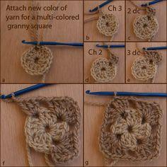 How to Crochet a Multicolored Granny Square: Round 2