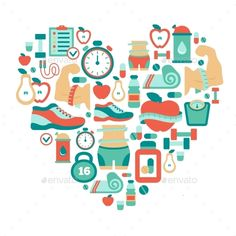 Heart Symbol with Fitness Icons (Vector EPS, CS, abstract, athlete, bottle, calories, concept, design, diet, dumbbell, fit, fitness, flat, food, health, healthy, icon, illustration, isolated, life, lifestyle, love, rate, sign, symbol, technology, timer, vector, vitamins, weight, white, yellow)