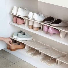 Shoe Stacker Slotz Space Saver, Shoe Racks for Closet Organization No Assembly Require, Durable Plastic Shoes Holder for Home Storage, Apricot, 4 Pack (Renewed) Shoe Rack Organization, Shoe Storage Cabinet, Shoe Organizer, Organizing Shoes, Foyer Storage, Organizing Ideas, Wooden Shoe Rack Designs, Wooden Shoe Racks, Wall Mounted Shoe Storage