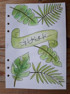 July Bullet Journal Cover, Tropical Leaves