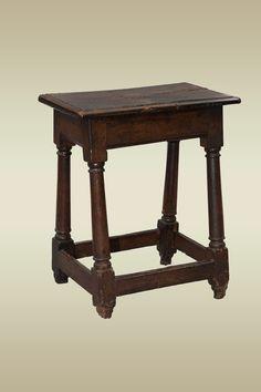 17th century joined oak stool with gun barrel legs, circa 1680. Marhamchurch antiques