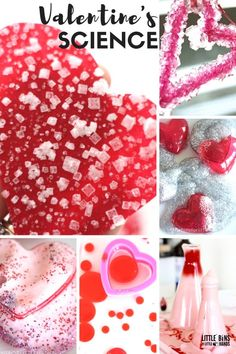 Fun Valentines Day chemistry ideas for awesome kids science! Explore Valentine's Day science with slime, crystals, eruptions, bubbles and more. Great kid's science for preschool, kindergarten, and early elementary age kids.