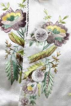 embroidery from a gentleman's waistcoat, century. by janine Embroidery Works, Gold Embroidery, Embroidery Stitches, Sewing Art, Sewing Crafts, Ribbon Work, Fabric Samples, Textile Art, Couture