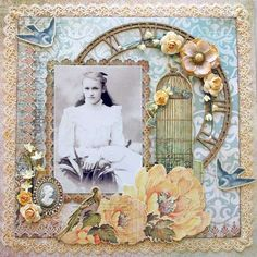 Queenie ~ Feminine heritage page with gorgeous vintage embellishments.