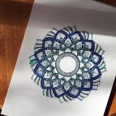 We're in love with theis gorgeous Blue tones mandala designed by @kaelamoldenhauer  with their Chameleon Pens.  #chameleonpens #mandala #drawing
