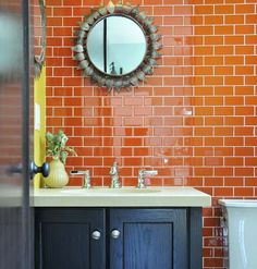 bright orange tile backsplash - photo #18