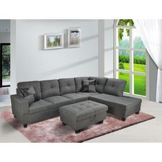 Create comfortable and contemporary seating in your living room with this Siano Sectional. Upholstered in grey, this sofa showcases clean lines, a one button tufted back, and ottoman with storage compartment for added convenience.