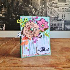 "S's Birthday Card. Cardstock: Bazzill, Folia; DP: Simple Stories (""DIY Boutique""); Basic Grey (""Fresh Cut""); stamps: Hero Arts (""Painted Canvas""), Artemio (flowers), Scrapbook Werkstatt (""Alles Gute""); dies: Crealies (leaves), Maggie Holmes (""Confetti Flowers""); sequins & pistils from my stash."