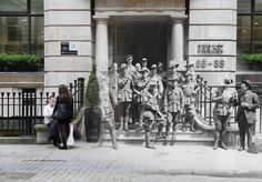 *** WWI ARCHIVE *** LONDON - 1917: Australian soldiers outside Egypt House in New Broad Street, London where The Australian Bank is housed in 23rd June 1917. (Photo by Topical Press Agency/Getty Images) ***MODERN DAY*** LONDON, UNITED KINGDOM - JULY 11: Office workers take a break outside the former Egypt House on July 11, 2014 in London, England. Throughout 2014 the First World War's Centenary will be remembered. (Photo by Peter Macdiarmid/Getty Images)