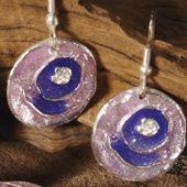 Earrings~Enamel Purple & Lilac Round Earrings~ER303-Fair trade by Namaste & Folio Gothic Hippy