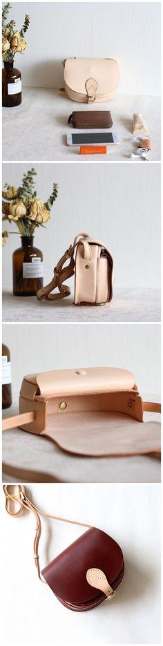 Handmade Women Vegetable Tanned  Leather Bag Messenger Bag Cross Body Bag Women's FashionSmall