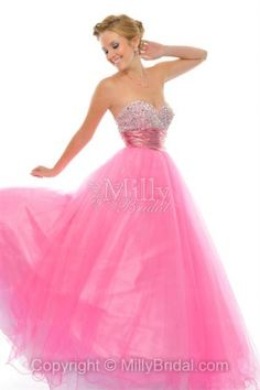 BallGown Sweetheart Organza Floor-length Pink Quinceanera Dress at Millybridal.com