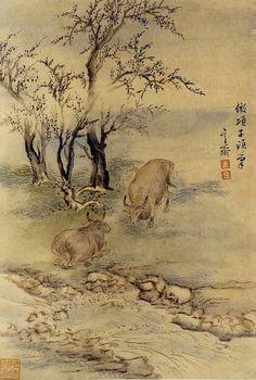 (Korea) 계변수우 by Hyeonjae Shim Sa-jeong (1707- 1769). color on paper. 27x18.3cm. Gansong gallery, Korea.