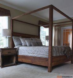 DIY King Size Canopy Bed Plans - Free DIY Plans | rogueengineer.com #KingSizeCanopyBed #BedroomDIYplans #BedroomIdeas