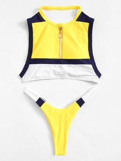 Zipper Front Colorblock Top With High Leg Bikini Summer Bathing Suits, Cute Bathing Suits, Cute Swimsuits, Cute Bikinis, High Leg Bikini, Beachwear, Swimwear, Bikini Bodies, Bikini Fashion