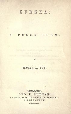 Eureka: A Prose Poem by Edgar Allan Poe - Gutenberg Project