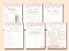Red Peach Confetti Bridal Shower Games - Magical Printable