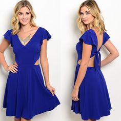 Royal Blue Flutter Cut-Out Back Tie A-Line Dress