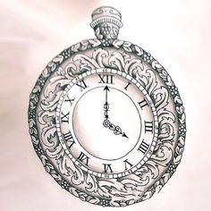 Beautiful Clock Tattoo Sketch Tattoo Design