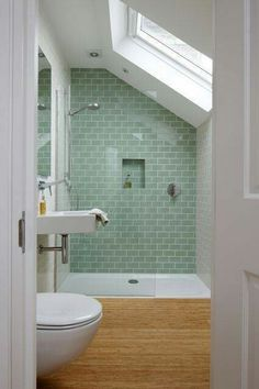Making Attractive Small Bathroom Shower Designs: Culture Design Small Bathroom Shower ~ Bathroom Inspiration Loft Bathroom, Upstairs Bathrooms, Relaxing Bathroom, Small Attic Bathroom, Skylight Bathroom, Attic Shower, Budget Bathroom, Simple Bathroom, Sloped Ceiling Bathroom