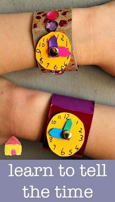 Learn to tell the time clock craft is part of Teaching time - learn to tell the time clock craft a great DIY watch craft for kids learning to tell the time Teaching Time, Teaching Math, Telling Time Activities, Primary Teaching, Teaching Spanish, Math Classroom, Classroom Activities, Fun Learning, Preschool Activities