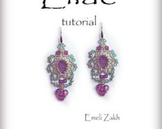 Lilac Beading tutorial.Beaded pattern earrings. ! PDF file containing…