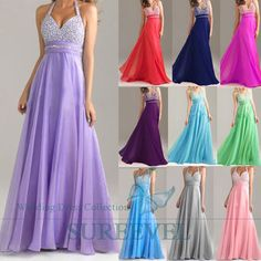 Women's Long Halter Cocktail Evening Dress Party Prom Formal Bridesmaid Dresses in Clothing, Shoes & Accessories, Wedding & Formal Occasion, Bridesmaids' & Formal Dresses | eBay