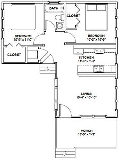 16x30 Tiny House -- #16X30H4F -- 705 sq ft - Excellent Floor Plans