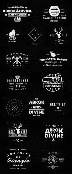 Logo Designs by Jørgen Grotdal A lot of the logos use symbols. There is a very wide variety of different types of symbols being used in logos here. Some are just letters and some are more complex symbols. Typo Logo, Logo Branding, Branding Design, Corporate Branding, Design Web, Lettering, Typography Design, Hipster Vintage, Vintage Logos