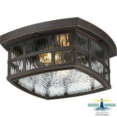 """Quoizel SNN1612 Stonington 2 Light 12"""" Wide Flush Mount Outdoor Ceiling Fixture Palladian Bronze Outdoor Lighting Ceiling Fixtures Flush Mount"""