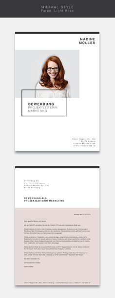 """Our new application template ( """"Minimal Style"""" in the color Light Rose. Minimalist design combined with a structured construction. Our application template """"Minimal Style"""" will not leave the staff's desk. You will receive a cover sheet, cover l Portfolio Resume, Portfolio Layout, Portfolio Design, Cv Design, Resume Design, Layout Design, Graphic Design, Cv Template, Resume Templates"""