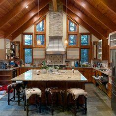 Cowhide Bar Stools, Cowhide Chair, Mountain Home Interiors, Log Home Interiors, Cabin Interior Design, Rustic Home Design, Modern Cabin Interior, Rustic Home Plans, Modern Cabin Decor