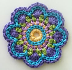 Love this color combo! Flower by @Nancy Faller - Crochet pattern triple flower power by ATERGcrochet on etsy http://www.etsy.com/listing/88220136/crochet-pattern-triple-flower-power-by