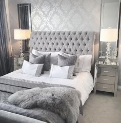 Nightstands, side tables, cabinets or seats are associated with the luxury bedroom furniture recommendations you might find. Every detail matters whenever our company is enhancing our master suite, right? Grey Bedroom Design, Grey Bedroom Decor, Room Ideas Bedroom, Stylish Bedroom, White Bedroom, White And Silver Bedroom, Bedroom Furniture, Modern Grey Bedroom, Glam Bedroom