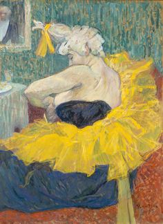 Art Let us celebrate the intimacy of Toulouse-Lautrec's work.Michela 'The Clowness Cha-U-Kao Fastening Her Bodice' by French painter& printmaker Henri de Toulouse-Lautrec Oil on cardboard. via the athenaeum Henri De Toulouse Lautrec, Figure Painting, Painting & Drawing, Vincent Willem Van Gogh, Maurice Utrillo, Edgar Degas, Impressionism Art, Claude Monet, Klimt