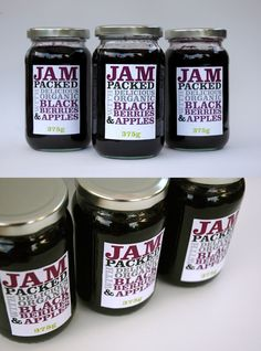 Jam Packaging Designs For Inspiration Jam Packaging, Design Packaging, Label Design, Jam Label, Home Canning, Coffee Cans, Berries, House Design, Organic