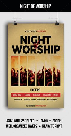 Buy Night of Worship - Flyer by jamesgulfan on GraphicRiver. This flyer is suitable for worship night. Event Poster Template, Event Poster Design, Flyer Template, Church Graphic Design, Church Design, Banners, Worship Night, Worship Songs Lyrics, Flyer Design Inspiration