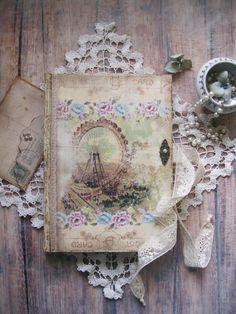 Grande Roue de Paris diary,  journal,  notebook, tagebuch, diario, shabby chic diary, shabby chic journal, shabby chic notebook,