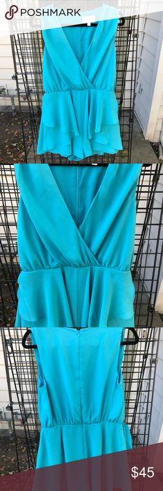 """Teal romper Keepsake teal romper. Runs small keepsake is an Australian brand. Total length 30"""". Small seem rip on left chest, other size covers it so you can't see it. KEEPSAKE the Label Dresses"""