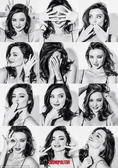 A fourth features the model in a series of black and white montage shots, each depicting Miranda in a different pose